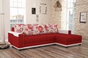 Coltar living extensibil pe stanga Blanca, cu lada, rosu + crem, 223 x 139 x 85 cm, 2C