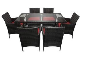 Set masa cu 6 scaune cu perne pentru gradina York din metal cu ratan sintetic
