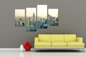 Tablou canvas 4 piese, PT1175 Viata in New York, panza + sasiu brad, stil orase si arhitectura, 2 piese - 30 x 50 cm + 2 piese - 30 x 70 cm