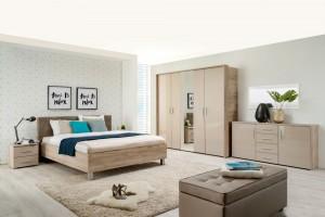 Dormitor complet Canon, stejar gri + folie lucioasa nisip, 5 piese, 15C