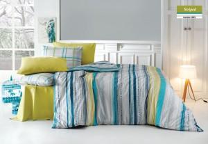 Lenjerie de pat, 2 persoane, Striped, bumbac 100%, 4 piese, multicolor