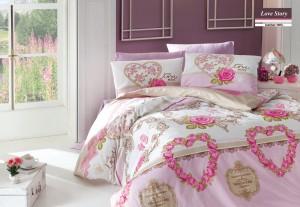 Lenjerie de pat, 2 persoane, Love Story, bumbac 100%, 4 piese, roz