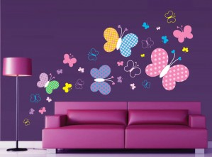 Sticker decorativ perete, living, Fluturi colorati, PT1493, 100 x 150 cm