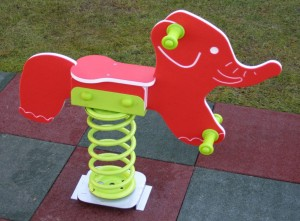 Balansoar copii, elefant pe arc FA.04, structura metalica, exterior, 70 x 20 x 80 cm