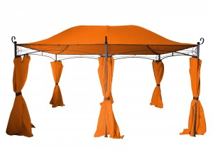 Pavilion gradina DU010A dreptunghiular cadru metalic + poliester portocaliu 3 x 4 m