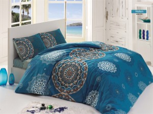 Lenjerie de pat, 2 persoane, Helen, bumbac 100%, 4 piese, albastru