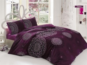 Lenjerie de pat, 2 persoane, Helen, bumbac 100%, 4 piese, violet