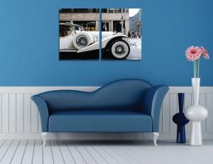 Tablou canvas 2 piese, PT1525, panza + sasiu brad, stil masina, 45 x 60 cm
