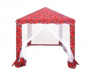 Pavilion gradina, pentru copii, patrat cadru metalic + poliester rosu 1.5 x 1.5 m