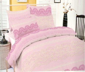 Lenjerie de pat, 2 persoane, Deluxe Pucioasa Dantell, bumbac 100%, 4 piese, roz