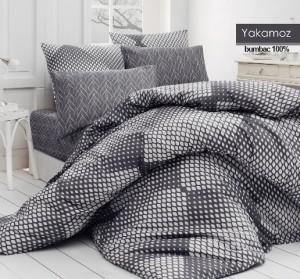 Lenjerie de pat, 2 persoane, Yakamoz, bumbac 100%, 4 piese, gri + alb