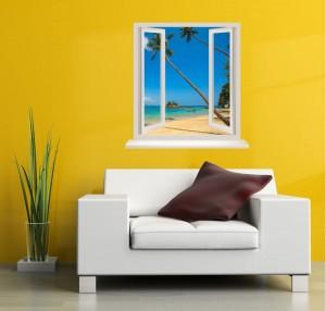 Sticker decorativ perete, living, Fereastra spre paradis, PT1498, 80 x 100 cm