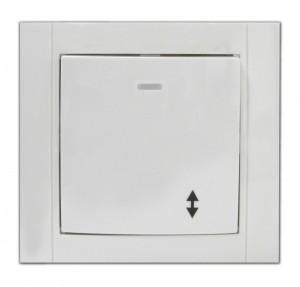 Intrerupator cap scara simplu cu indicator luminos Comtec Anemon, incastrat, rama inclusa, alb