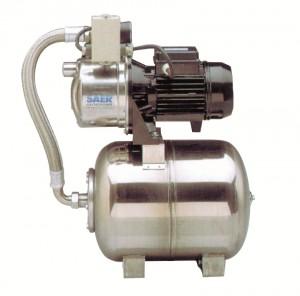 Hidrofor Saer M99, cu pompa autoamorsanta din inox + vas inox 24 L + presostat + manometru + furtun flexibil + racord 5 cai, 750 W