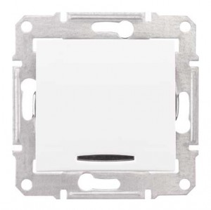 Intrerupator cap scara simplu cu indicator luminos Schneider Electric Sedna SDN1500121, incastrat, alb