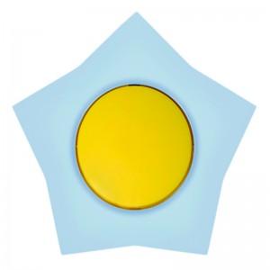 Intrerupator simplu Metalka-Majur Happy, incastrat, rama inclusa, stea, galben cu bleu