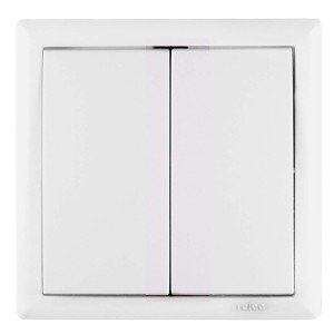 Intrerupator dublu Elegant IMBD ST E 45587, incastrat, rama inclusa, alb