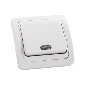 Intrerupator simplu cu indicator luminos Comtec Eco, incastrat, ceramica, rama inclusa, alb