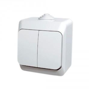 Intrerupator dublu Schneider Electric Cedar WDE000550, aparent, alb