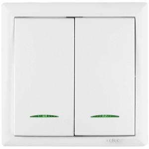 Intrerupator dublu cu indicator luminos Elegant IMBD-ST-I-E 45594, incastrat, rama inclusa, alb