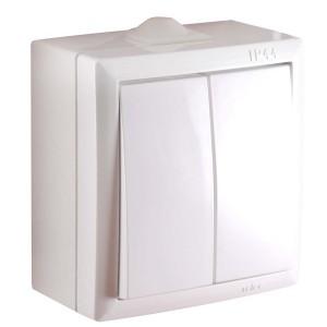 Intrerupator dublu Elegant IMBD PT E 045372, aparent, rama inclusa, alb