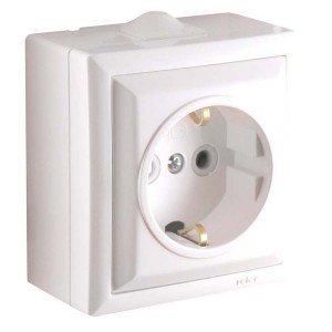 Priza simpla Elegant 045471, aparenta, ceramica, rama inclusa, contact de protectie, alba