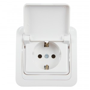 Priza simpla Comtec Eco 0012-05255, incastrata, rama inclusa, cu capac, contact de protectie, alba