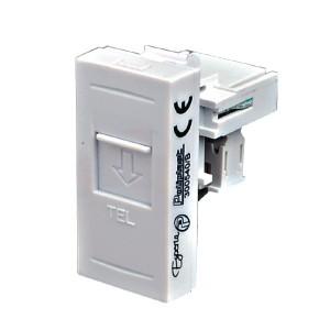 Priza telefon Esperia 300540 B, RJ11, incastrata, modulara - 1 m, alba