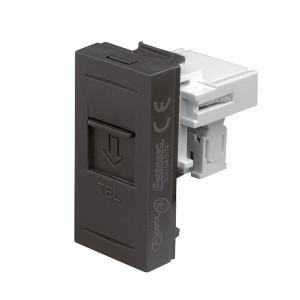 Priza telefon Esperia 300540 N, RJ11, incastrata, modulara - 1 m, neagra
