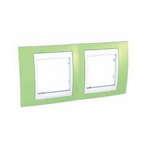 Rama Schneider Electric Unica Plus MGU6.004.863, 2 posturi, mar verde/alb