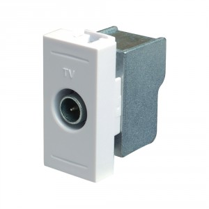 Priza TV capat Esperia 300535 B, modulara - 1 m, alba