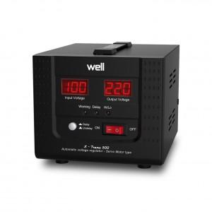 Stabilizator de tensiune cu servomotor, Well AVR-SRV-500VA-WL, 500VA / 300W
