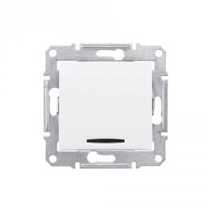Intrerupator simplu cu indicator luminos Schneider Electric Sedna SDN1400121, incastrat, alb