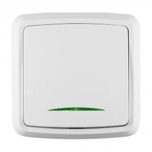 Intrerupator simplu cu indicator luminos Decor IMBS-ST-I 50499, incastrat, rama inclusa, alb