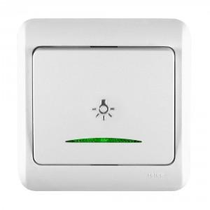 Intrerupator cap scara simplu cu indicator luminos Decor IMBCS-ST-I 50550, incastrat, rama inclusa, alb