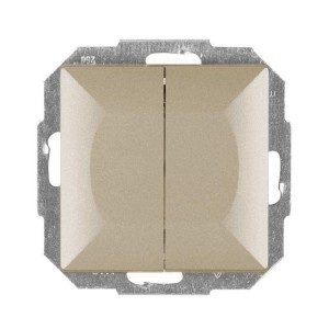 Intrerupator dublu Abex Perla WP-2P SA, incastrat, satin