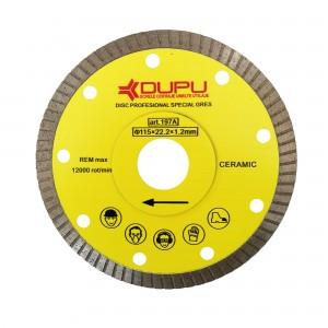 Disc diamantat, continuu, pentru debitare gresie, Dupu Special, 115 x 22.23 x 1.2 mm