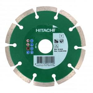 Disc diamantat, cu segmente, pentru debitare materiale de constructii, Hitachi, 115 x 22.2 x 2 x 7 mm