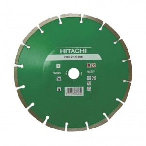 Disc diamantat, cu segmente, pentru debitare materiale de constructii, Hitachi, 230 x 22.2 x 2.3 x 7 mm
