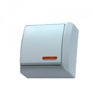 Intrerupator simplu cu indicator luminos Ospel Bis LN-1BS, aparent, rama inclusa, alb