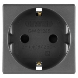 Priza simpla Gewiss System GW21265-1BL, incastrata, modulara - 2, contact de protectie, negru