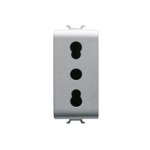 Priza simpla Gewiss Chorus GW14203-1BL, incastrata, modulara - 1, contact de protectie, gri - titan