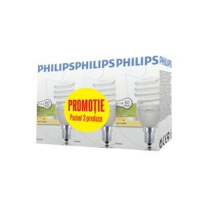 Bec economic E14 Philips Tornado spiralat 12W lumina calda, 3 buc