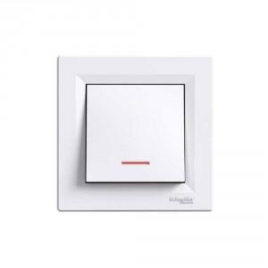 Intrerupator simplu cu indicator luminos Schneider Electric Asfora EPH1400121, incastrat, rama inclusa, alb