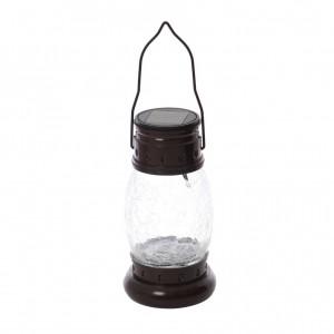 Lampa solara LED Hoff, felinar, metal, sticla, 31 cm