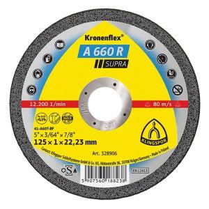Disc debitare inox si otel, Klingspor A 660 R Supra, 125 x 22.23 x 1 mm