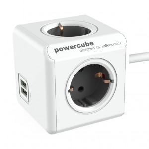 Prelungitor PowerCube 4 prize + 2 USB, 3 m