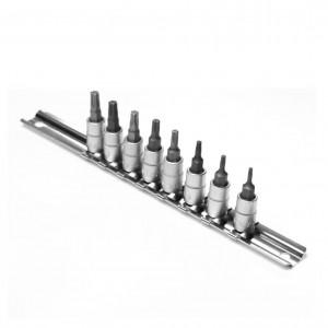 Capete chei tubulare, cu profil torx, pe sina, Kronus, T8 - T40, 1/4 inch, set 8 bucati