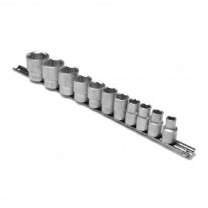 Capete chei tubulare, cu profil hexagonal, pe sina, Kronus, 10 - 32 mm, 1/2 inch, set 11 bucati