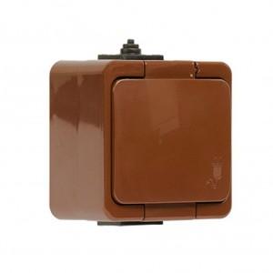 Priza simpla Abex Smart, aparenta, cu capac, contact de protectie, maro